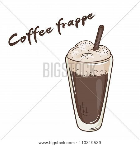 Vector Printable Illustration Of Isolated Cup Of Frappe Coffee With Label