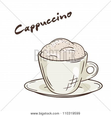 Vector Printable Illustration Of Isolated Cup Of Cappuccino With Label
