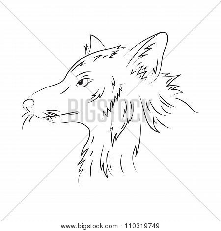 Vector Hand Drawn Pencil Illustration Of Wolf. Printable Portrait