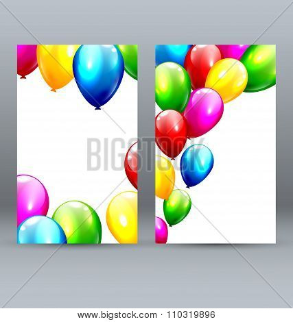 Two Celebration Greet Cards with Inflatable Balloons