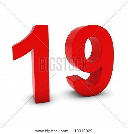 Red 3D Number Nineteen Isolated On White With Shadows