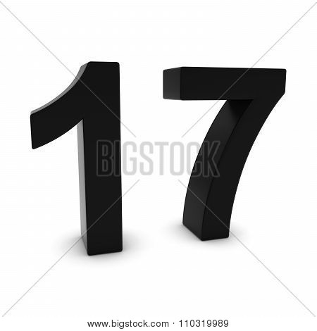 Black 3D Number Seventeen Isolated On White With Shadows