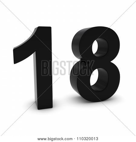 Black 3D Number Eighteen Isolated On White With Shadows
