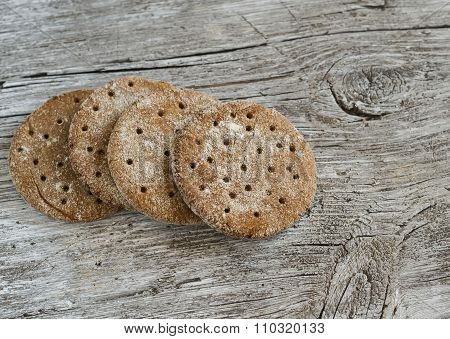Rye Flatbread On Rustic Light Wooden Surface. Healthy Food