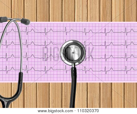 Heart Analysis, Electrocardiogram Graph (ecg) And Stethoscope On Wooden Table