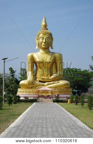 Uthay Thani, Thailand - January, 2015: Buddha On Ban Samo Thong Hot Spring In Lan Sak