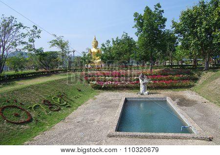 Uthay Thani, Thailand - January, 2015: Ban Samo Thong Hot Spring In Lan Sak