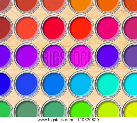 Paint Cans Color Palette, Cans Opened Top View On Wooden Table Background