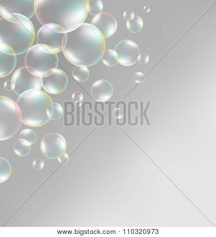 Transparent iridescent soap bubbles on grayscale