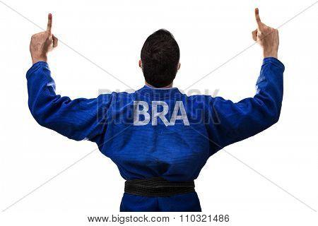 Brazilian judoka fighter man isolated on white background