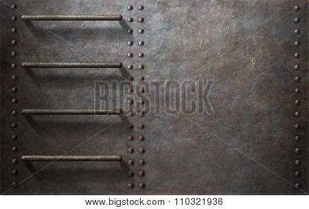 submarine metal side background with stairs