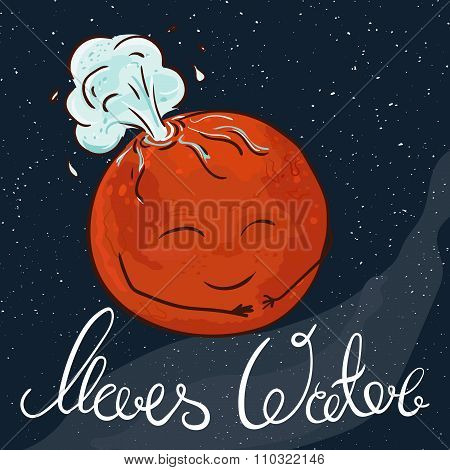 Vector Hand Drawn Printable Illustration Of Mars Planet With Stars And Milky Way On The Background.