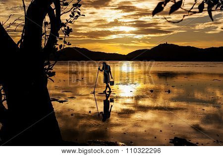 Silhouette Fisherman In Frame From Nature