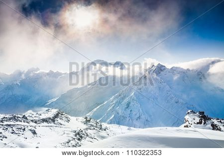 Beautiful Winter Landscape With Snow-covered Mountains At Sunset.