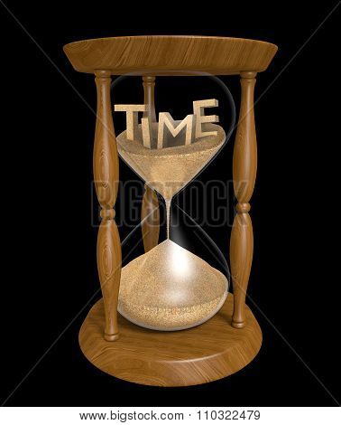 3D text of the word time in an hourglass with trickling sand