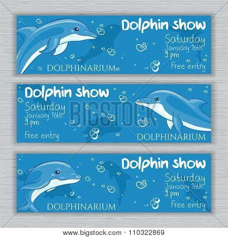 vector set of printable dolphinarium banner with hand drawn cartoon dolphins and text. Can be used a