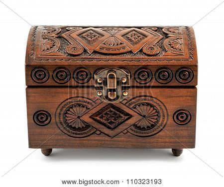 Oak Wood Carved Casket Handmade Isolated On White