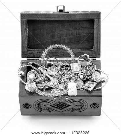 Opened Wooden Carved Casket Handmade With Jewelry Black And White Isolated On White