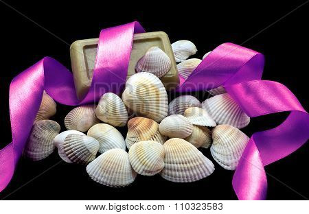 Variety Of Sea And River White Shell, Natural Soap, Bright Violet Ribbon Macro Isolated On Black