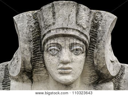 Stone Statue Of A Woman With The Face Of The Pharaoh In Ukraine Isolated On Black