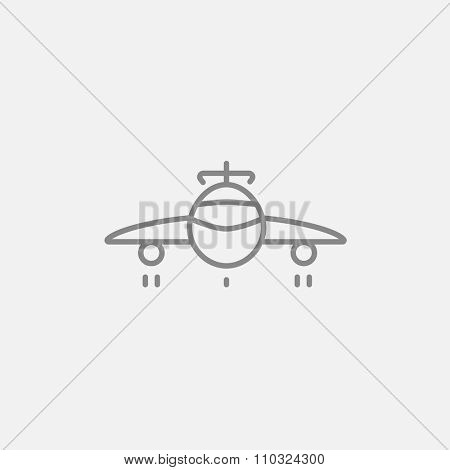 Airplane line icon for web, mobile and infographics. Vector dark grey icon isolated on light grey background.