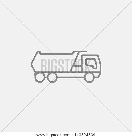 Dump truck line icon for web, mobile and infographics. Vector dark grey icon isolated on light grey background.