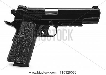 Modern Black And Chrome Pistol Black And White Gun Isolated On White