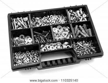 Black And Orange Box Organizer For The Screws, Dowels, Self-tapping Screws And Washers Black And Whi