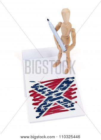 Wooden Mannequin Made A Drawing - Confederation Flag