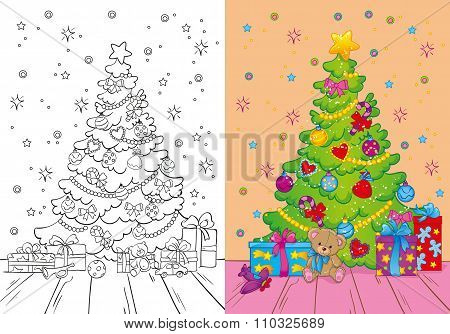 Coloring Book Of Christmas Tree And Gifts