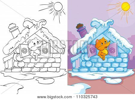 Coloring Book Of Fox In Ice House