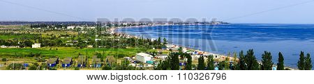 Panorama Of A Tourist Town On Shore Of The Sea In Summer