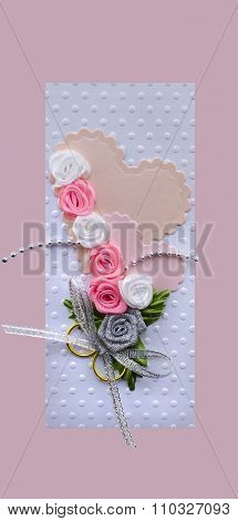 Wedding Card Handmade With Hearts And Gold Rings Rose Isolated Made By Myself