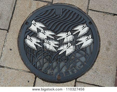 Manhole drain cover on the street at Himeji, Japan.