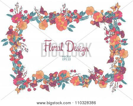 Floral frame with flowers berries and butterfly