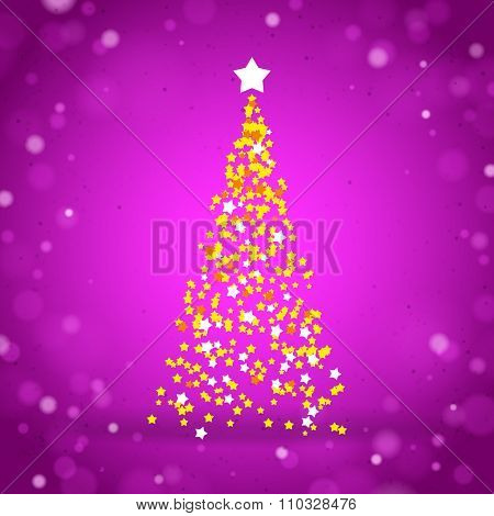 Purple Greeting Card with a Christmas Tree created by Yellow Stars