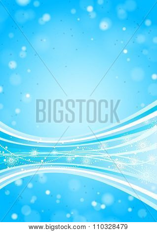 Blue Winter Background with Snowflakes, Lights and Waves