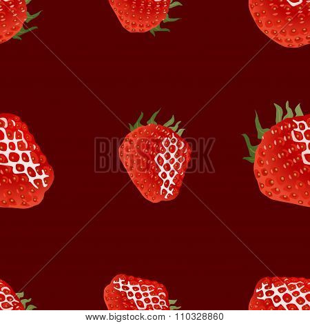 Seamless pattern with strawberry