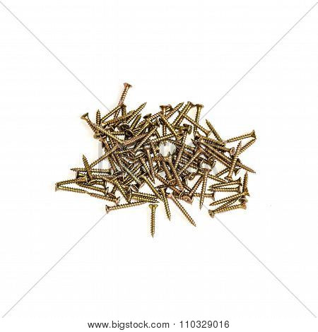 Steel Screws On White Background