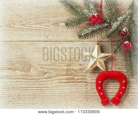 Christmas Cowboy Background on wood texture