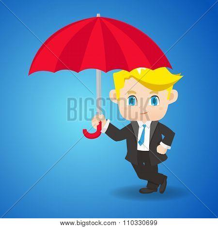 Cartoon Illustration Businessman With Umbrella