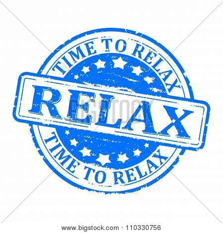 Damaged Round Blue Stamped - Time For Relax, Relax - Illustration
