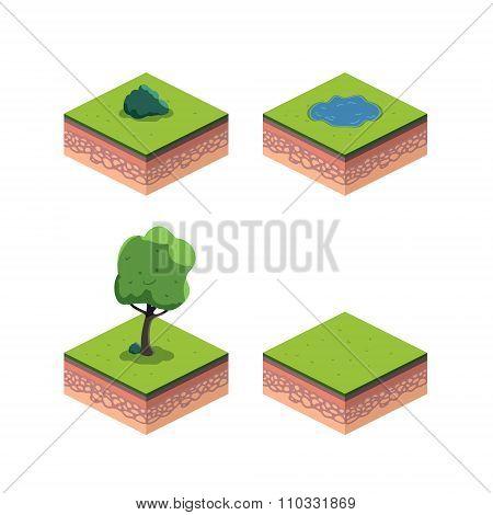 Tree, isometric ground, lake, bush. Vector