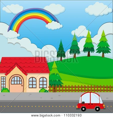 Red car on the road and a house illustration
