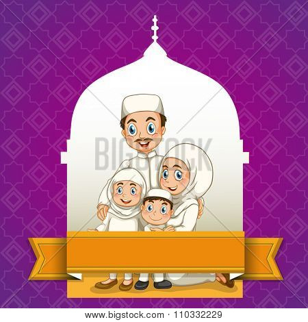 Muslim family and mosque background illustration