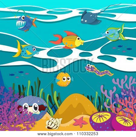 Fish and sea animals underwater illustration