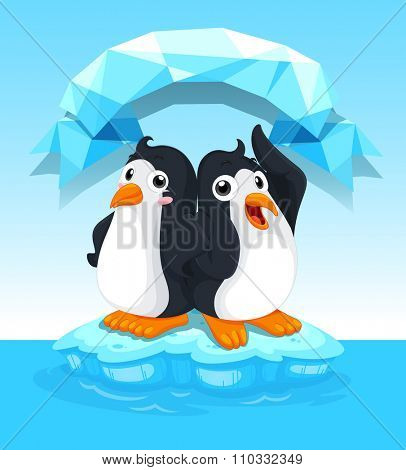 Cute penguins standing on ice illustration