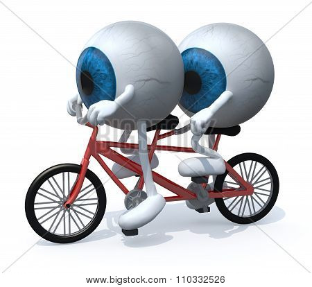 Two Blue Eyeballs Riding Tandem