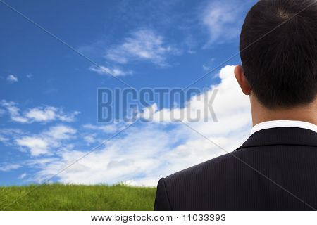 View of Businessman's back