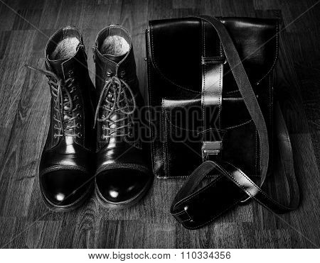 Still Life With Leather Suitcase And Shoes